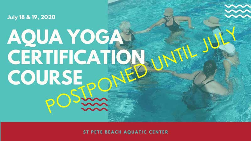 Aqua Yoga graphic which says it is postponed until July 2020.
